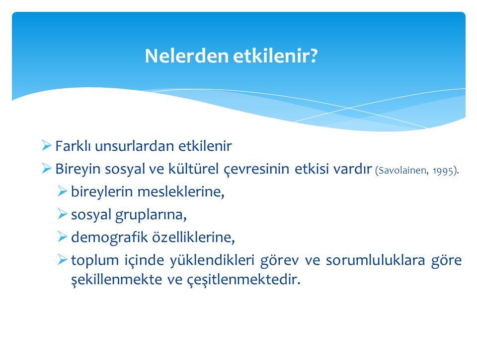  Farklı unsurlardan etkilenir  Bireyin sosyal ve kültürel çevresinin etkisi vardır (Savolainen, 1995).