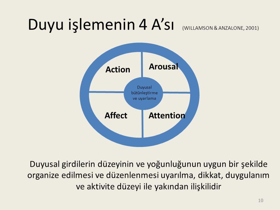10 Duyu işlemenin 4 A'sı (WILLAMSON & ANZALONE, 2001) Action Duyusal bütünleştirme ve uyarlama AffectAttention Arousal Duyusal girdilerin düzeyinin ve yoğunluğunun uygun bir şekilde organize edilmesi ve düzenlenmesi uyarılma, dikkat, duygulanım ve aktivite düzeyi ile yakından ilişkilidir