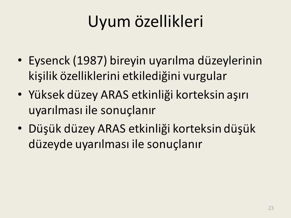23 Uyum özellikleri Eysenck (1987) bireyin uyarılma düzeylerinin kişilik özelliklerini etkilediğini vurgular Yüksek düzey ARAS etkinliği korteksin aşırı uyarılması ile sonuçlanır Düşük düzey ARAS etkinliği korteksin düşük düzeyde uyarılması ile sonuçlanır