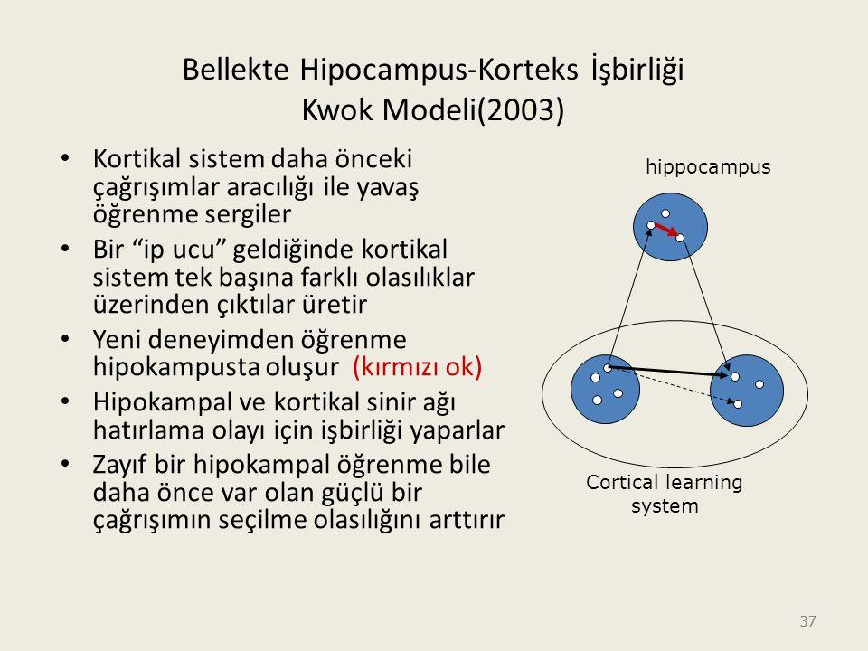 37 Bellekte Hipocampus-Korteks İşbirliği Kwok Modeli(2003) Kortikal sistem daha önceki çağrışımlar aracılığı ile yavaş öğrenme sergiler Bir ip ucu geldiğinde kortikal sistem tek başına farklı olasılıklar üzerinden çıktılar üretir Yeni deneyimden öğrenme hipokampusta oluşur (kırmızı ok) Hipokampal ve kortikal sinir ağı hatırlama olayı için işbirliği yaparlar Zayıf bir hipokampal öğrenme bile daha önce var olan güçlü bir çağrışımın seçilme olasılığını arttırır Cortical learning system hippocampus
