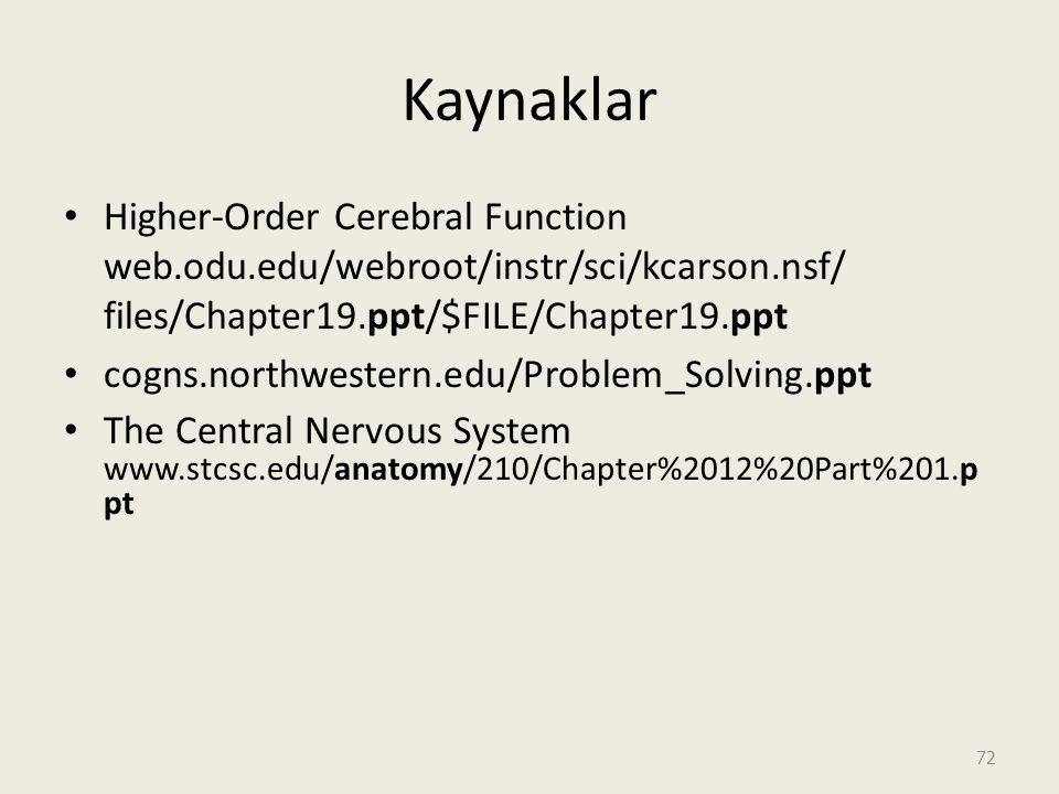 Kaynaklar Higher-Order Cerebral Function web.odu.edu/webroot/instr/sci/kcarson.nsf/ files/Chapter19.ppt/$FILE/Chapter19.ppt cogns.northwestern.edu/Problem_Solving.ppt The Central Nervous System www.stcsc.edu/anatomy/210/Chapter%2012%20Part%201.p pt 72
