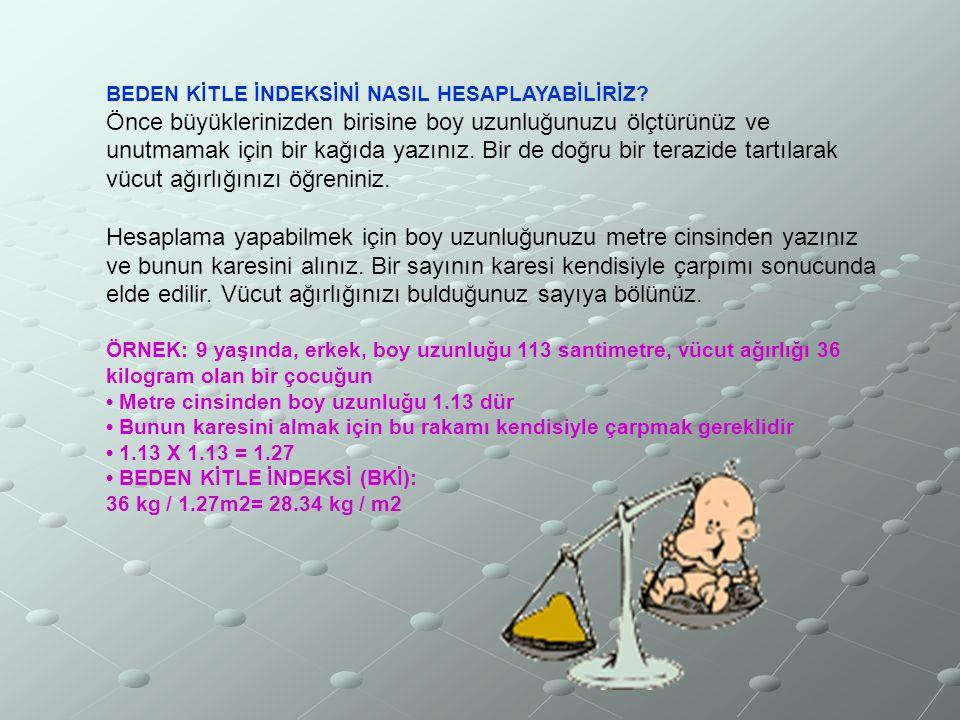 UYGUN VÜCUT AĞIRLIĞININ HESAPLANMASI Boy Kilo İndeksi=Ağırlık / Boy(m)2 Örnek;Boy:1.70 m, Ağırlık: 75 kg BKİ:75 / (1.70)2 = 75 / (2.89) =26
