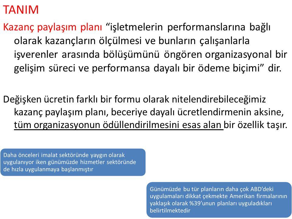 """TANIM Kazanç paylaşım planı """"işletmelerin performanslarına bağlı olarak kazançların ölçülmesi ve bunların çalışanlarla işverenler arasında bölüşümünü"""