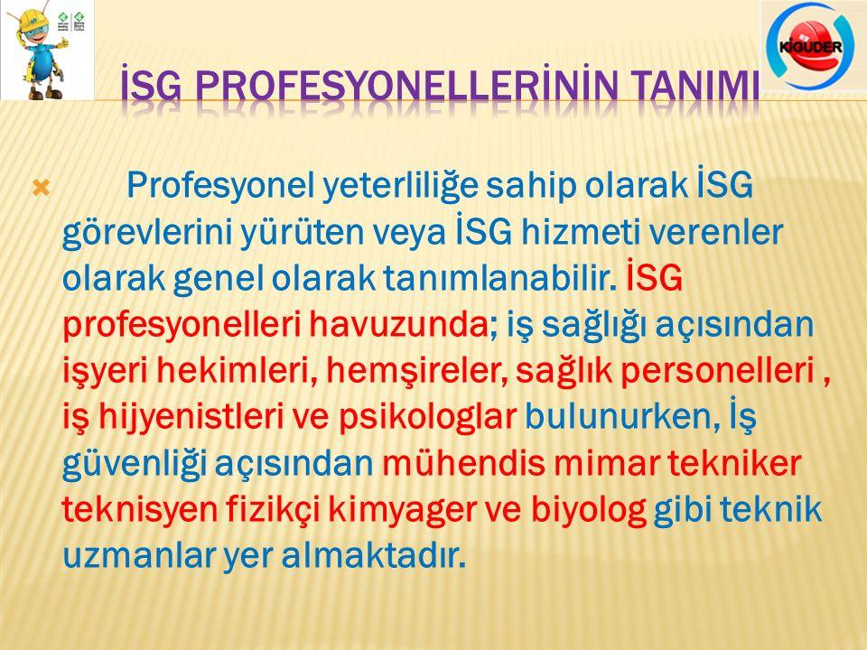  Profesyonel yeterliliğe sahip olarak İSG görevlerini yürüten veya İSG hizmeti verenler olarak genel olarak tanımlanabilir. İSG profesyonelleri havuz