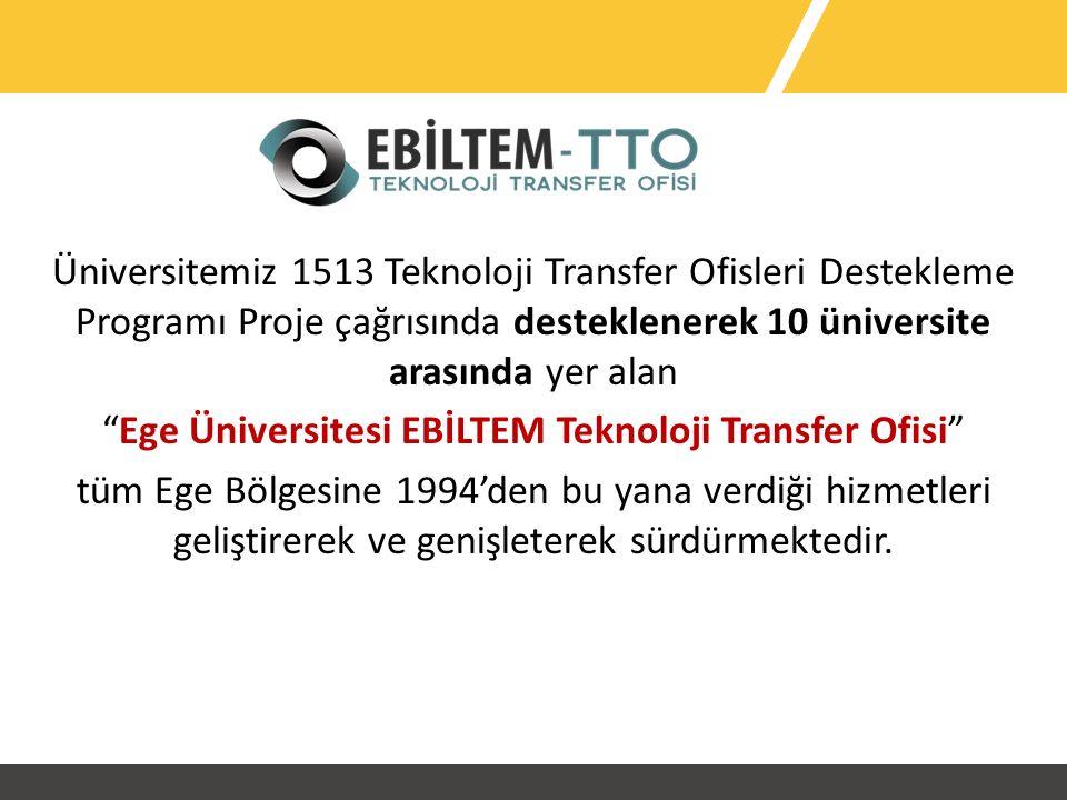 Üniversitemiz 1513 Teknoloji Transfer Ofisleri Destekleme Programı Proje çağrısında desteklenerek 10 üniversite arasında yer alan Ege Üniversitesi EBİLTEM Teknoloji Transfer Ofisi tüm Ege Bölgesine 1994'den bu yana verdiği hizmetleri geliştirerek ve genişleterek sürdürmektedir.