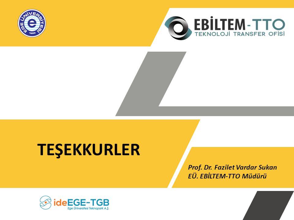 TEŞEKKURLER Prof. Dr. Fazilet Vardar Sukan EÜ. EBİLTEM-TTO Müdürü