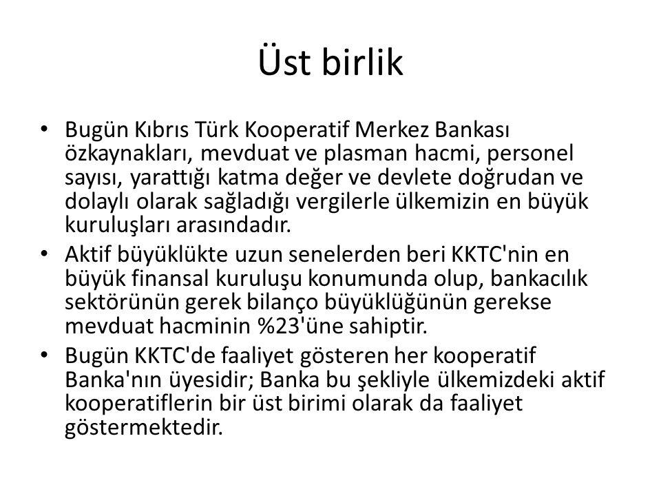 Üst birlik Bugün Kıbrıs Türk Kooperatif Merkez Bankası özkaynakları, mevduat ve plasman hacmi, personel sayısı, yarattığı katma değer ve devlete doğru