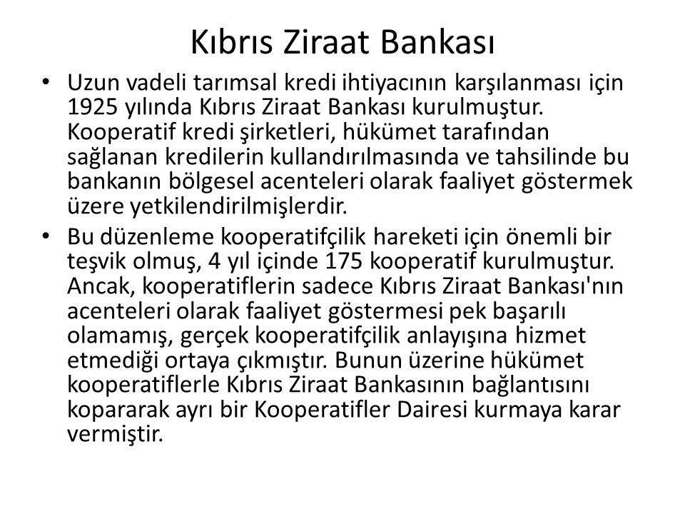 Kıbrıs Ziraat Bankası Uzun vadeli tarımsal kredi ihtiyacının karşılanması için 1925 yılında Kıbrıs Ziraat Bankası kurulmuştur. Kooperatif kredi şirket