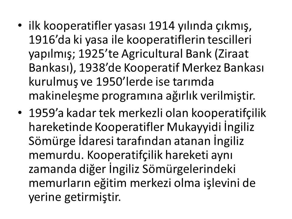 ilk kooperatifler yasası 1914 yılında çıkmış, 1916'da ki yasa ile kooperatiflerin tescilleri yapılmış; 1925'te Agricultural Bank (Ziraat Bankası), 193