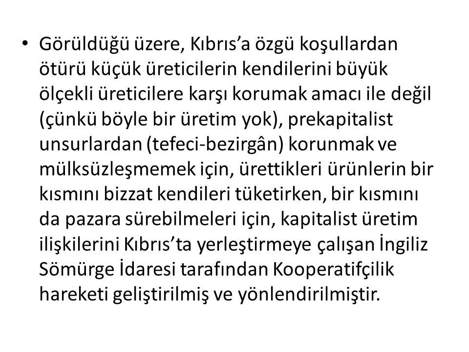 Görüldüğü üzere, Kıbrıs'a özgü koşullardan ötürü küçük üreticilerin kendilerini büyük ölçekli üreticilere karşı korumak amacı ile değil (çünkü böyle b