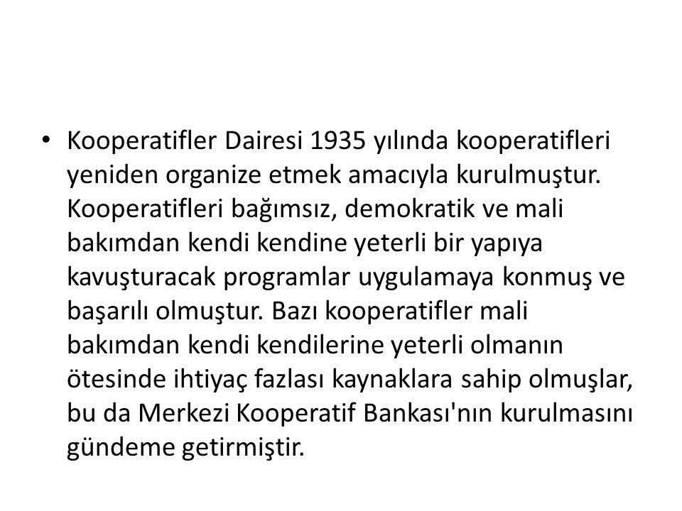 Kooperatifler Dairesi 1935 yılında kooperatifleri yeniden organize etmek amacıyla kurulmuştur. Kooperatifleri bağımsız, demokratik ve mali bakımdan ke