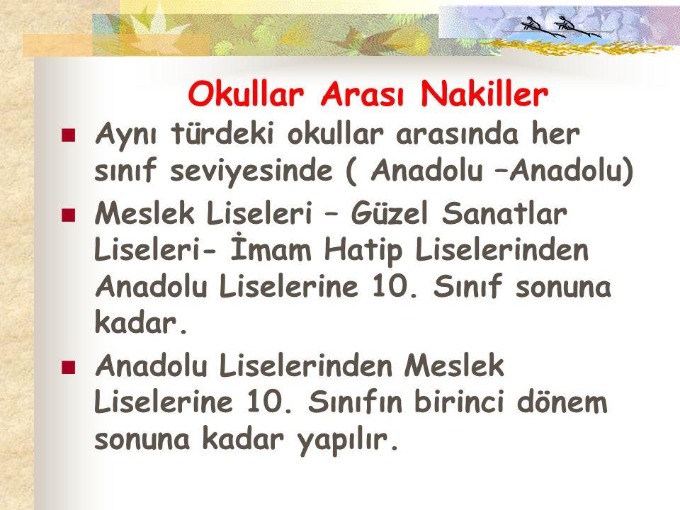 Okullar Arası Nakiller Aynı türdeki okullar arasında her sınıf seviyesinde ( Anadolu –Anadolu) Meslek Liseleri – Güzel Sanatlar Liseleri- İmam Hatip L