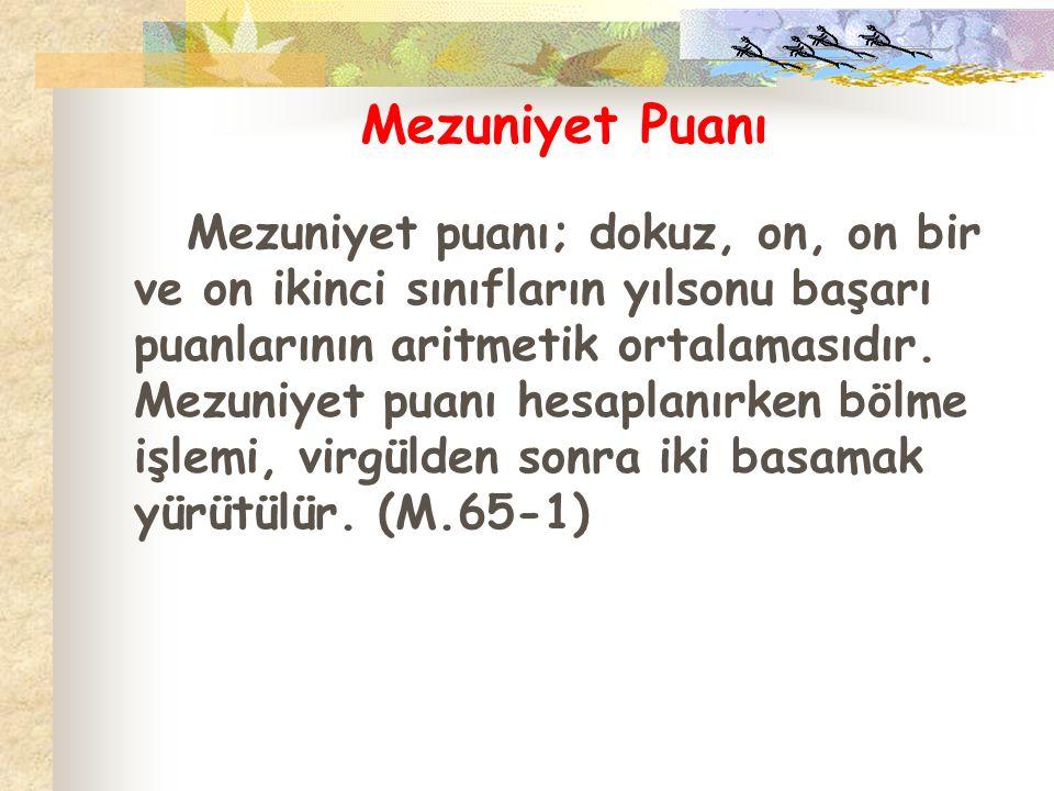 Mezuniyet Puanı Mezuniyet puanı; dokuz, on, on bir ve on ikinci sınıfların yılsonu başarı puanlarının aritmetik ortalamasıdır. Mezuniyet puanı hesapla
