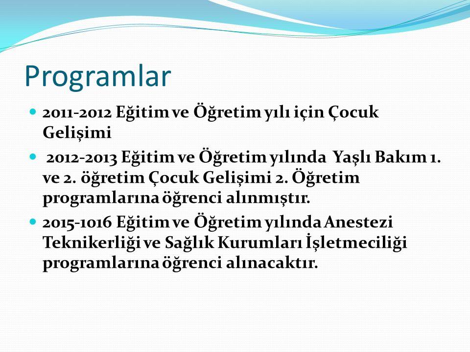 Programlar 2011-2012 Eğitim ve Öğretim yılı için Çocuk Gelişimi 2012-2013 Eğitim ve Öğretim yılında Yaşlı Bakım 1.