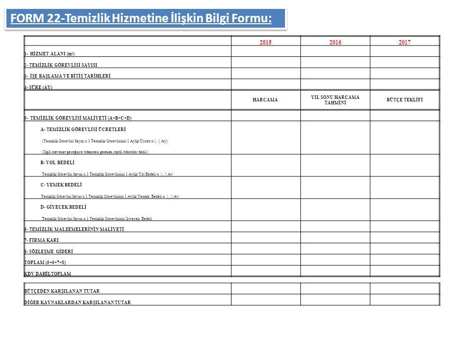 FORM 22-Temizlik Hizmetine İlişkin Bilgi Formu: 201520162017 1- HİZMET ALANI (m 2 ) 2- TEMİZLİK GÖREVLİSİ SAYISI 3- İŞE BAŞLAMA VE BİTİŞ TARİHLERİ 4-
