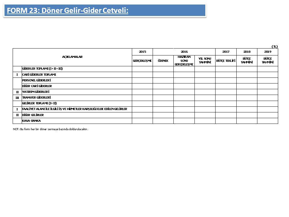 FORM 23: Döner Gelir-Gider Cetveli: