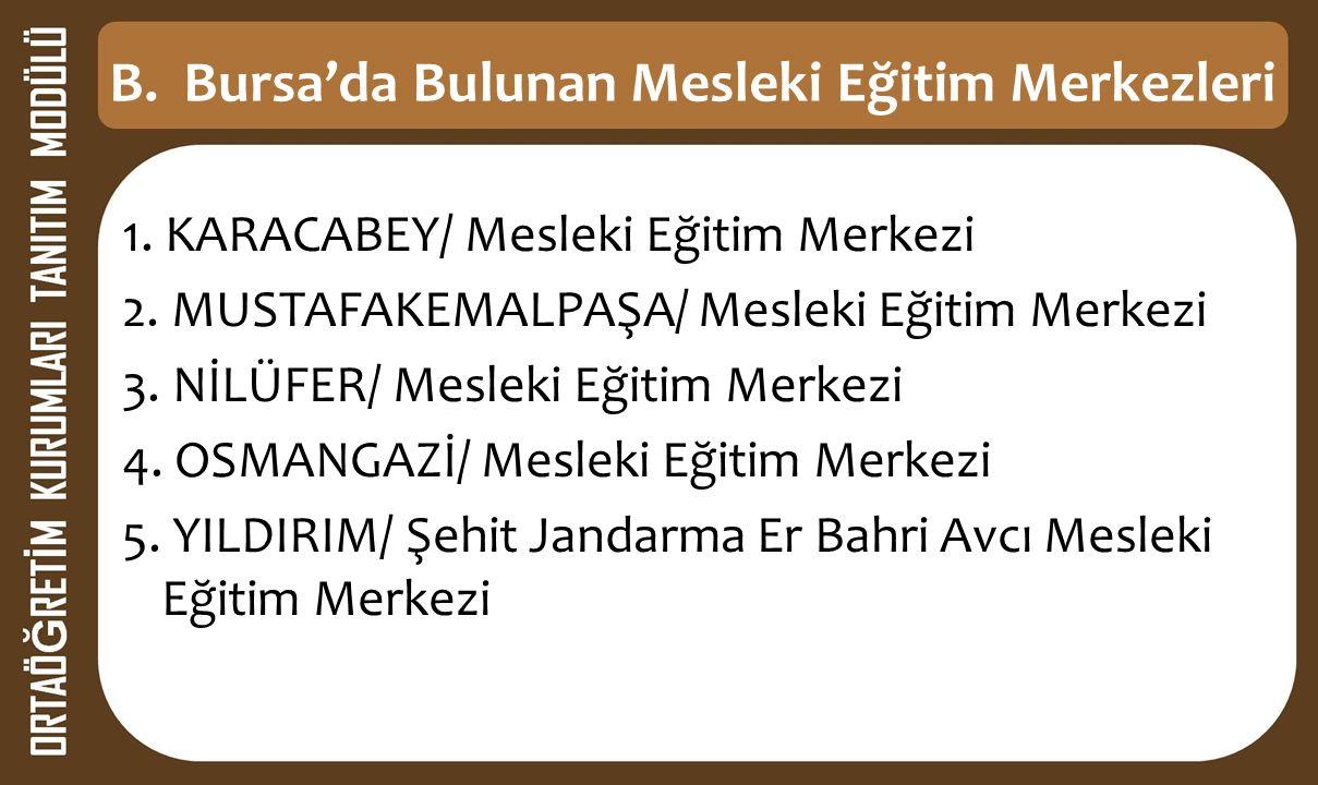 B. Bursa'da Bulunan Mesleki Eğitim Merkezleri 1. KARACABEY/ Mesleki Eğitim Merkezi 2.