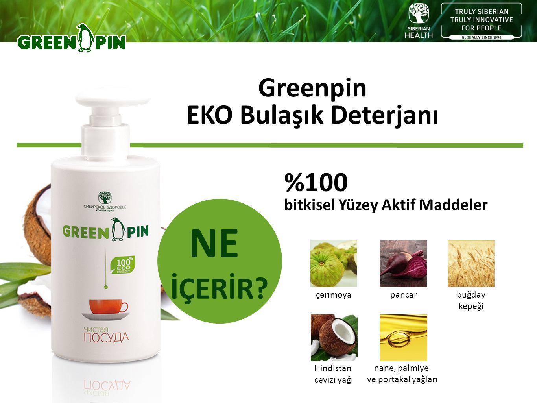 Greenpin EKO Bulaşık Deterjanı NE İÇERİR? %100 bitkisel Yüzey Aktif Maddeler Hindistan cevizi yağı çerimoya nane, palmiye ve portakal yağları buğday k