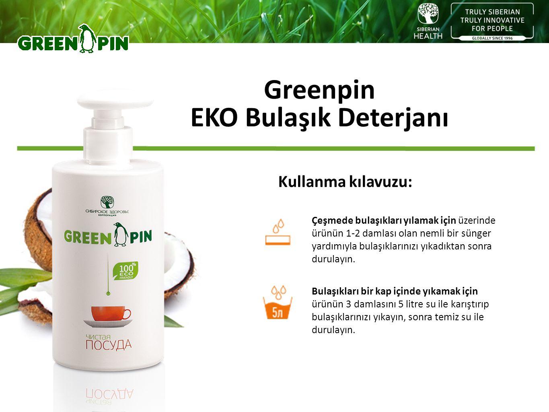 Greenpin EKO Bulaşık Deterjanı Kullanma kılavuzu: Çeşmede bulaşıkları yılamak için üzerinde ürünün 1-2 damlası olan nemli bir sünger yardımıyla bulaşı