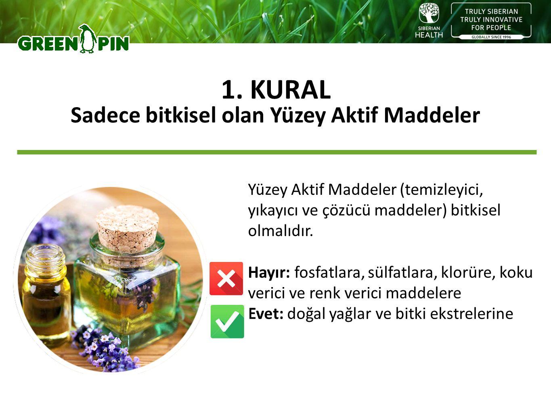 Yüzey Aktif Maddeler (temizleyici, yıkayıcı ve çözücü maddeler) bitkisel olmalıdır. Hayır: fosfatlara, sülfatlara, klorüre, koku verici ve renk verici