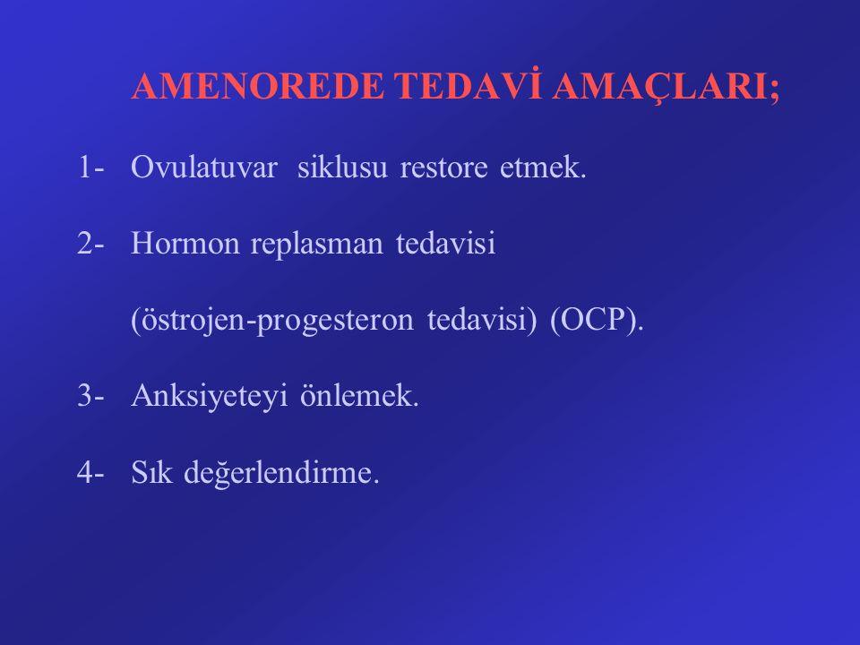 AMENOREDE TEDAVİ AMAÇLARI; 1-Ovulatuvar siklusu restore etmek. 2-Hormon replasman tedavisi (östrojen-progesteron tedavisi) (OCP). 3-Anksiyeteyi önleme