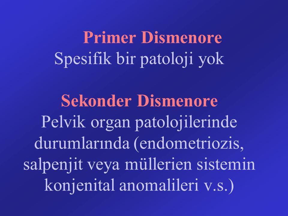 Primer Dismenore Spesifik bir patoloji yok Sekonder Dismenore Pelvik organ patolojilerinde durumlarında (endometriozis, salpenjit veya müllerien siste