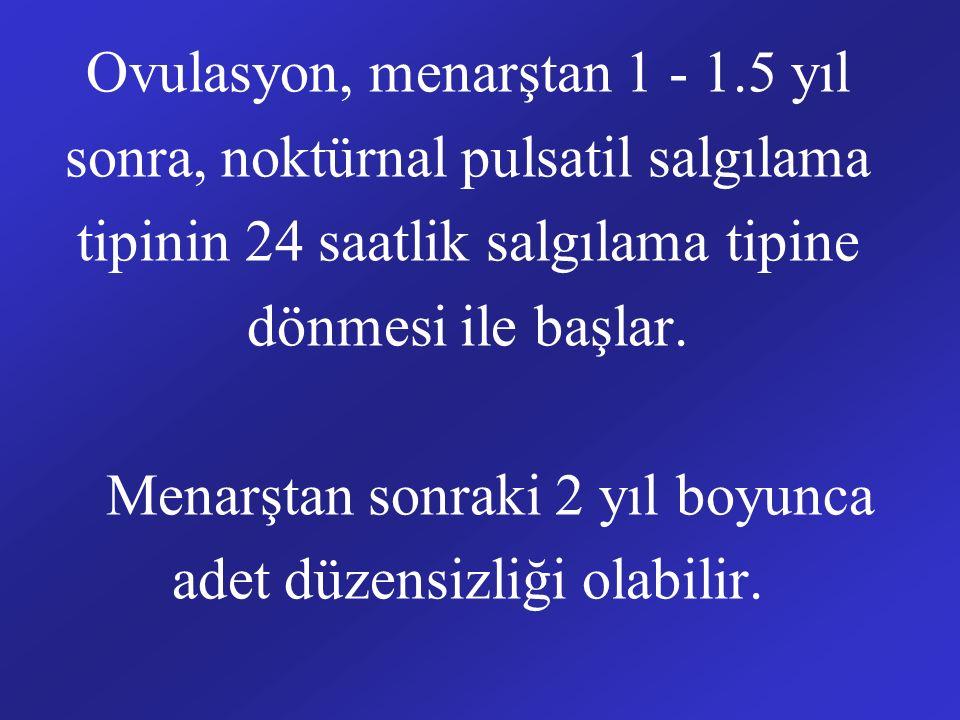 Ovulasyon, menarştan 1 - 1.5 yıl sonra, noktürnal pulsatil salgılama tipinin 24 saatlik salgılama tipine dönmesi ile başlar. Menarştan sonraki 2 yıl b