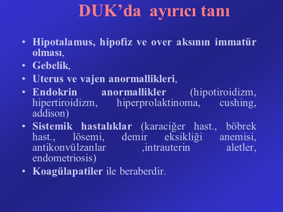 DUK'da ayırıcı tanı Hipotalamus, hipofiz ve over aksının immatür olması, Gebelik, Uterus ve vajen anormallikleri, Endokrin anormallikler (hipotiroidiz