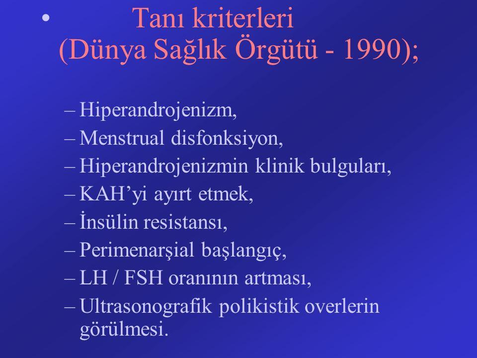 Tanı kriterleri (Dünya Sağlık Örgütü - 1990); –Hiperandrojenizm, –Menstrual disfonksiyon, –Hiperandrojenizmin klinik bulguları, –KAH'yi ayırt etmek, –