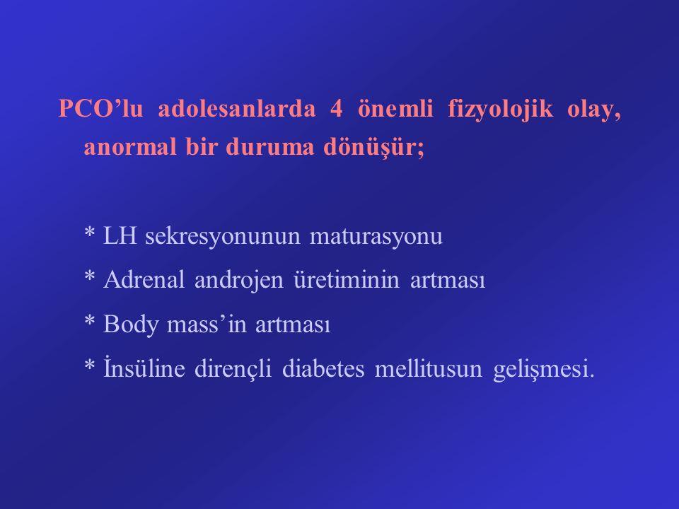 PCO'lu adolesanlarda 4 önemli fizyolojik olay, anormal bir duruma dönüşür; * LH sekresyonunun maturasyonu * Adrenal androjen üretiminin artması * Body