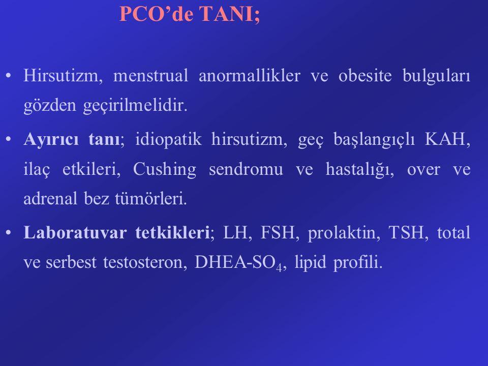 PCO'de TANI; Hirsutizm, menstrual anormallikler ve obesite bulguları gözden geçirilmelidir. Ayırıcı tanı; idiopatik hirsutizm, geç başlangıçlı KAH, il