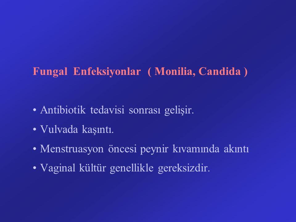 Fungal Enfeksiyonlar ( Monilia, Candida ) Antibiotik tedavisi sonrası gelişir. Vulvada kaşıntı. Menstruasyon öncesi peynir kıvamında akıntı Vaginal kü