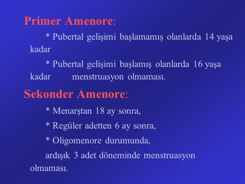 Primer Amenore: * Pubertal gelişimi başlamamış olanlarda 14 yaşa kadar * Pubertal gelişimi başlamış olanlarda 16 yaşa kadar menstruasyon olmaması. Sek
