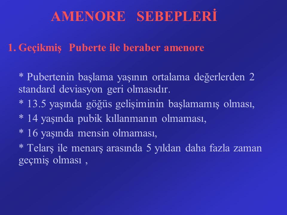 AMENORE SEBEPLERİ 1.Geçikmiş Puberte ile beraber amenore * Pubertenin başlama yaşının ortalama değerlerden 2 standard deviasyon geri olmasıdır. * 13.5