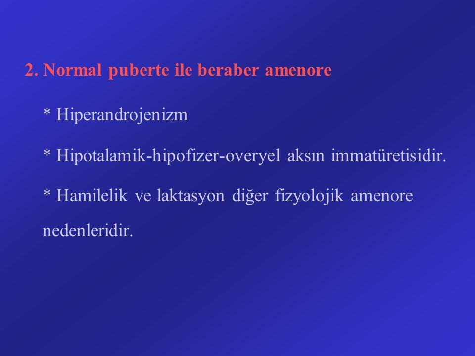 2. Normal puberte ile beraber amenore * Hiperandrojenizm * Hipotalamik-hipofizer-overyel aksın immatüretisidir. * Hamilelik ve laktasyon diğer fizyolo
