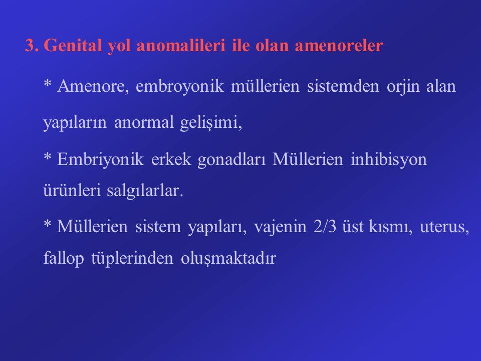 3. Genital yol anomalileri ile olan amenoreler * Amenore, embroyonik müllerien sistemden orjin alan yapıların anormal gelişimi, * Embriyonik erkek gon