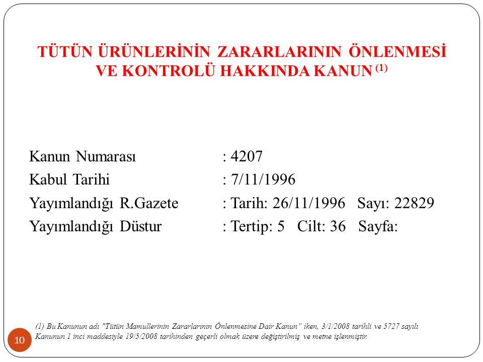 TÜTÜN ÜRÜNLERİNİN ZARARLARININ ÖNLENMESİ VE KONTROLÜ HAKKINDA KANUN (1) 10 Kanun Numarası: 4207 Kabul Tarihi: 7/11/1996 Yayımlandığı R.Gazete: Tarih: 26/11/1996 Sayı: 22829 Yayımlandığı Düstur: Tertip: 5 Cilt: 36 Sayfa: (1) Bu Kanunun adı Tütün Mamullerinin Zararlarının Önlenmesine Dair Kanun iken, 3/1/2008 tarihli ve 5727 sayılı Kanunun 1 inci maddesiyle 19/5/2008 tarihinden geçerli olmak üzere değiştirilmiş ve metne işlenmiştir.