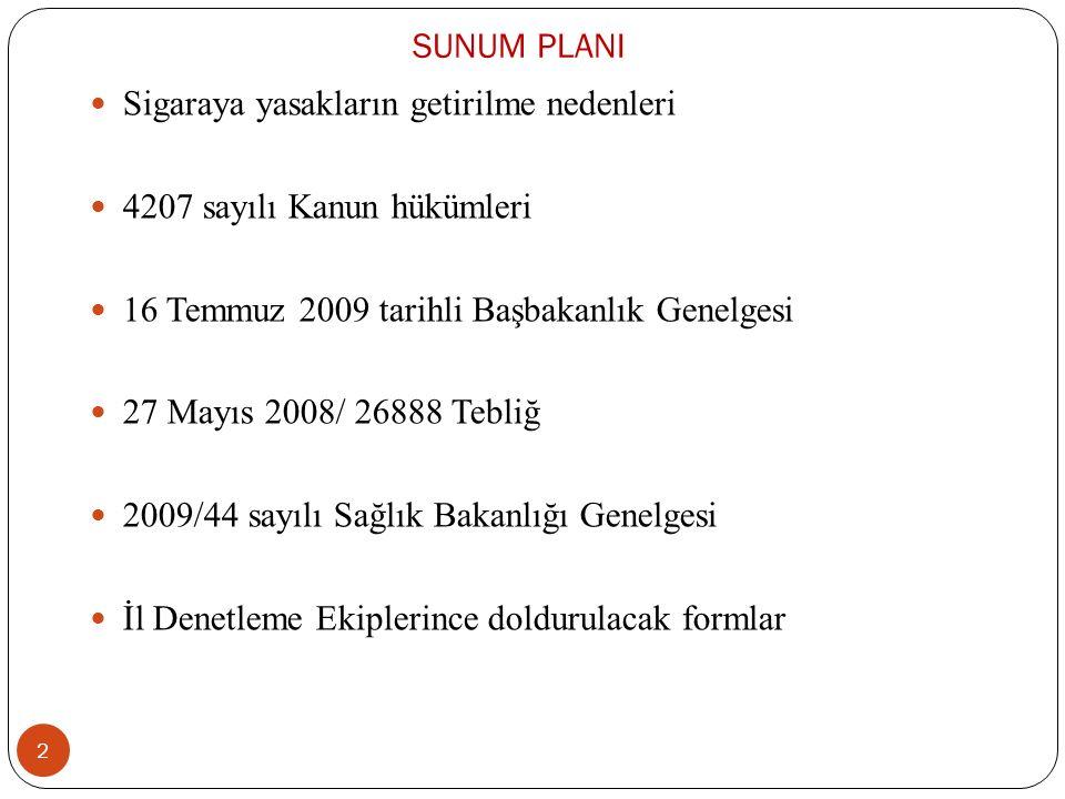 SUNUM PLANI Sigaraya yasakların getirilme nedenleri 4207 sayılı Kanun hükümleri 16 Temmuz 2009 tarihli Başbakanlık Genelgesi 27 Mayıs 2008/ 26888 Tebliğ 2009/44 sayılı Sağlık Bakanlığı Genelgesi İl Denetleme Ekiplerince doldurulacak formlar 2