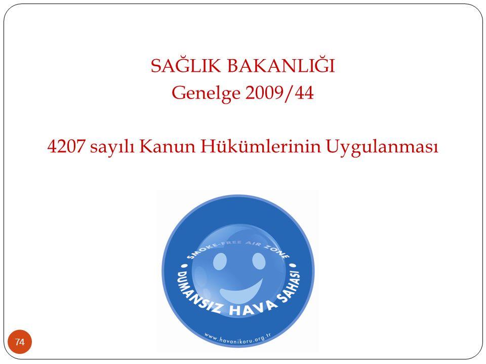 74 SAĞLIK BAKANLIĞI Genelge 2009/44 4207 sayılı Kanun Hükümlerinin Uygulanması