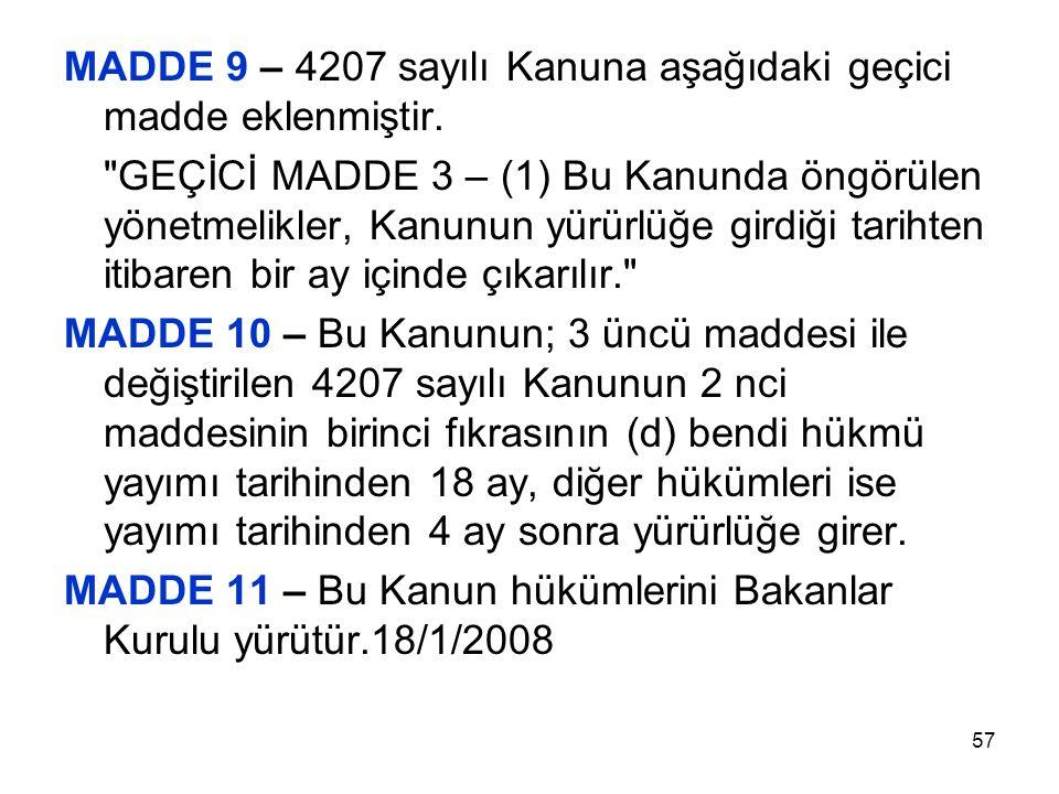 57 MADDE 9 – 4207 sayılı Kanuna aşağıdaki geçici madde eklenmiştir.