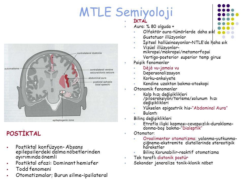 MTLE Semiyoloji  İKTAL  Aura: % 80 olguda +  Olfaktör aura-tümörlerde daha sık!  Gustatuar illüzyonlar  İşitsel hallüsinasyonlar-NTLE'de haha sık