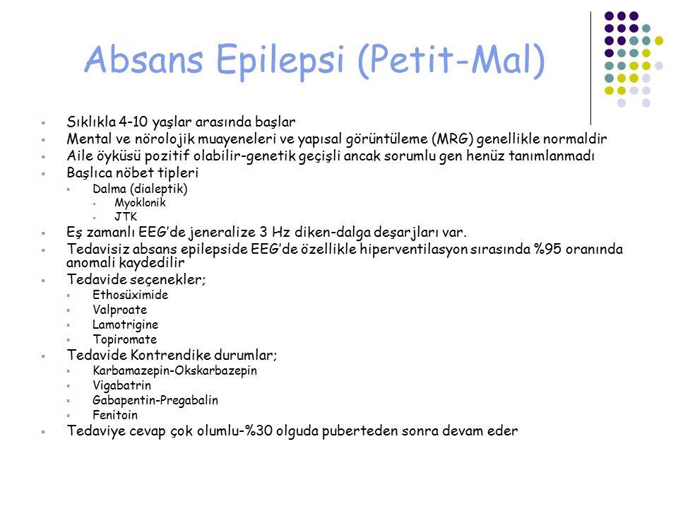 Absans Epilepsi (Petit-Mal)  Sıklıkla 4-10 yaşlar arasında başlar  Mental ve nörolojik muayeneleri ve yapısal görüntüleme (MRG) genellikle normaldir