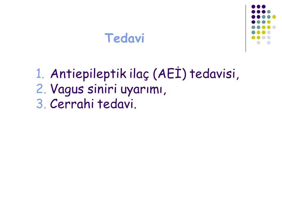 Tedavi 1.Antiepileptik ilaç (AEİ) tedavisi, 2.Vagus siniri uyarımı, 3.Cerrahi tedavi.