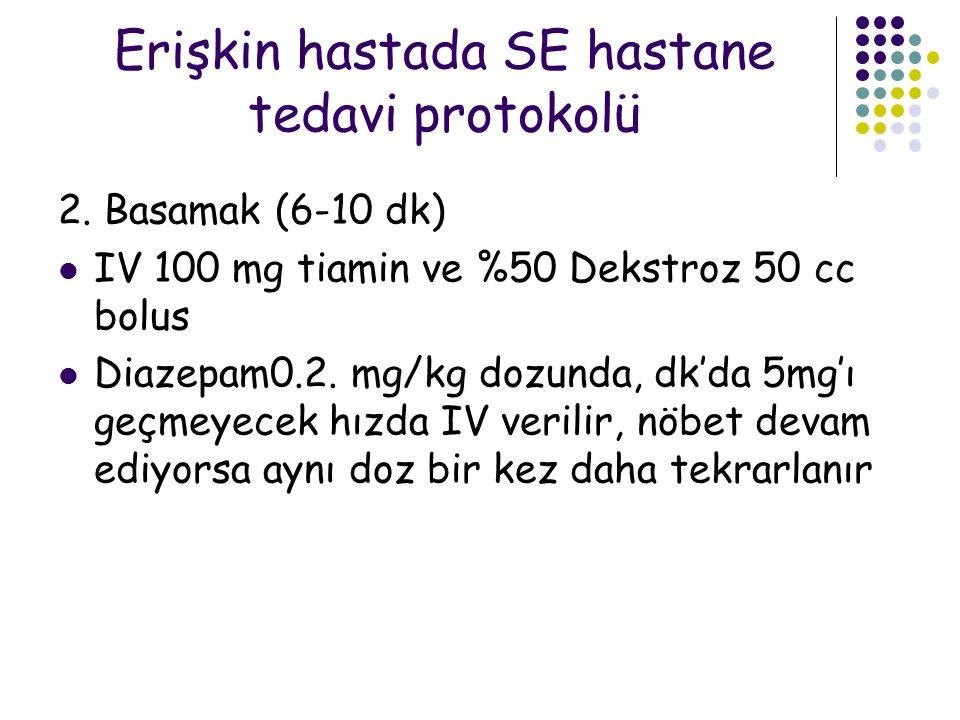 Erişkin hastada SE hastane tedavi protokolü 2. Basamak (6-10 dk) IV 100 mg tiamin ve %50 Dekstroz 50 cc bolus Diazepam0.2. mg/kg dozunda, dk'da 5mg'ı