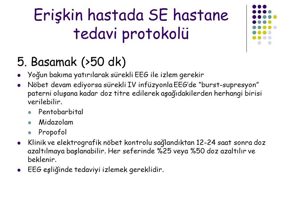 Erişkin hastada SE hastane tedavi protokolü 5. Basamak (>50 dk) Yoğun bakıma yatırılarak sürekli EEG ile izlem gerekir Nöbet devam ediyorsa sürekli IV