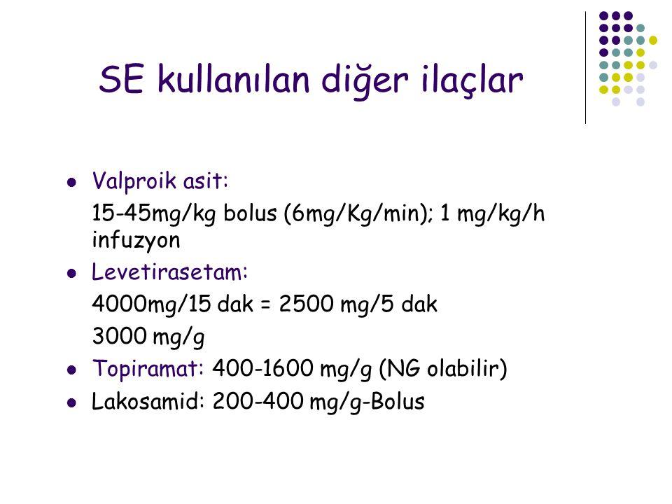 SE kullanılan diğer ilaçlar Valproik asit: 15-45mg/kg bolus (6mg/Kg/min); 1 mg/kg/h infuzyon Levetirasetam: 4000mg/15 dak = 2500 mg/5 dak 3000 mg/g To