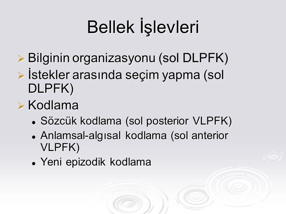 Bellek İşlevleri  Bilginin organizasyonu  Bilginin organizasyonu (sol DLPFK)  İstekler arasında seçim yapma (sol DLPFK)  Kodlama Sözcük kodlama (sol posterior VLPFK) Sözcük kodlama (sol posterior VLPFK) Anlamsal-algısal kodlama (sol anterior VLPFK) Anlamsal-algısal kodlama (sol anterior VLPFK) Yeni epizodik kodlama Yeni epizodik kodlama