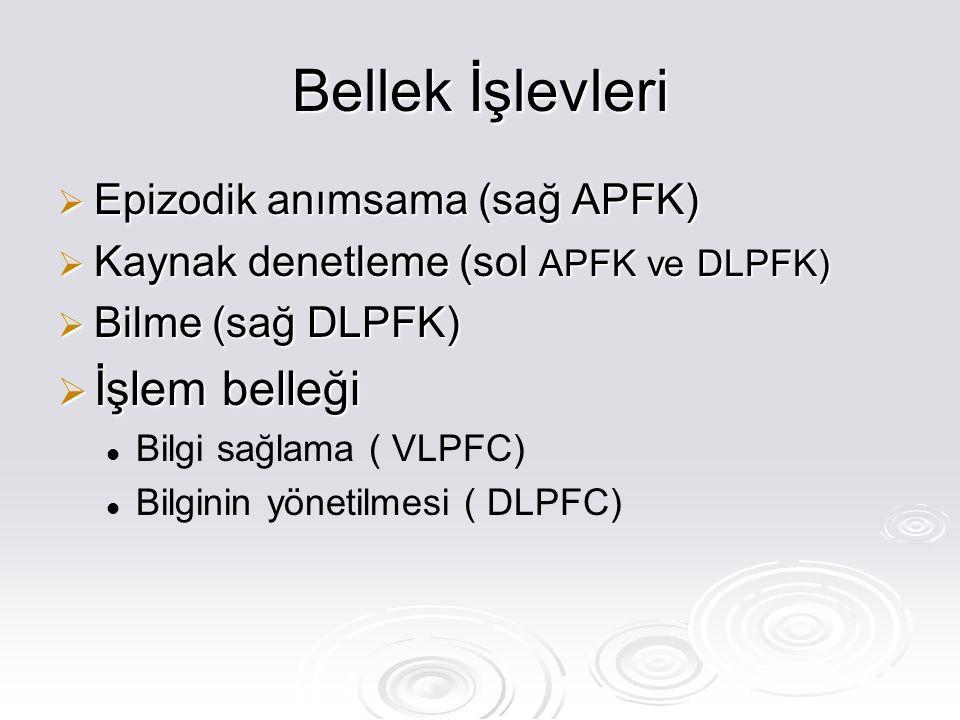 Bellek İşlevleri  Epizodik anımsama (sağ APFK)  Kaynak denetleme (sol APFK ve DLPFK)  Bilme (sağ DLPFK)  İşlem belleği Bilgi sağlama ( VLPFC) Bilginin yönetilmesi ( DLPFC)