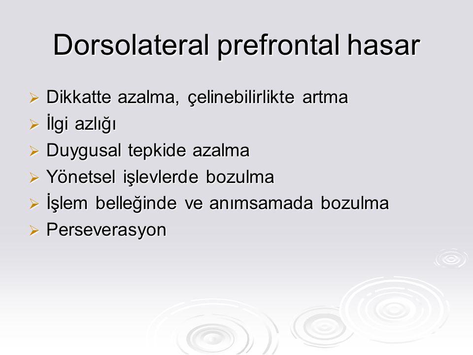 Dorsolateral prefrontal hasar  Dikkatte azalma, çelinebilirlikte artma  İlgi azlığı  Duygusal tepkide azalma  Yönetsel işlevlerde bozulma  İşlem belleğinde ve anımsamada bozulma  Perseverasyon