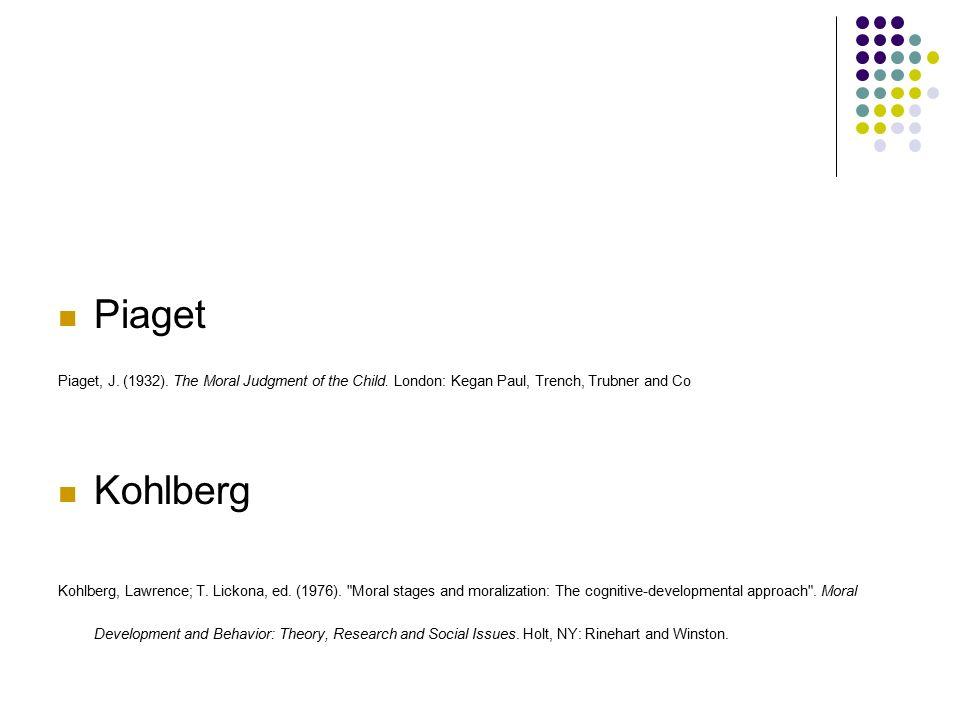 Ahlaki Muhakeme Piaget Piaget, J. (1932). The Moral Judgment of the Child. London: Kegan Paul, Trench, Trubner and Co Kohlberg Kohlberg, Lawrence; T.